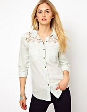 Vila Denim Shirt with Lace Insert Detail