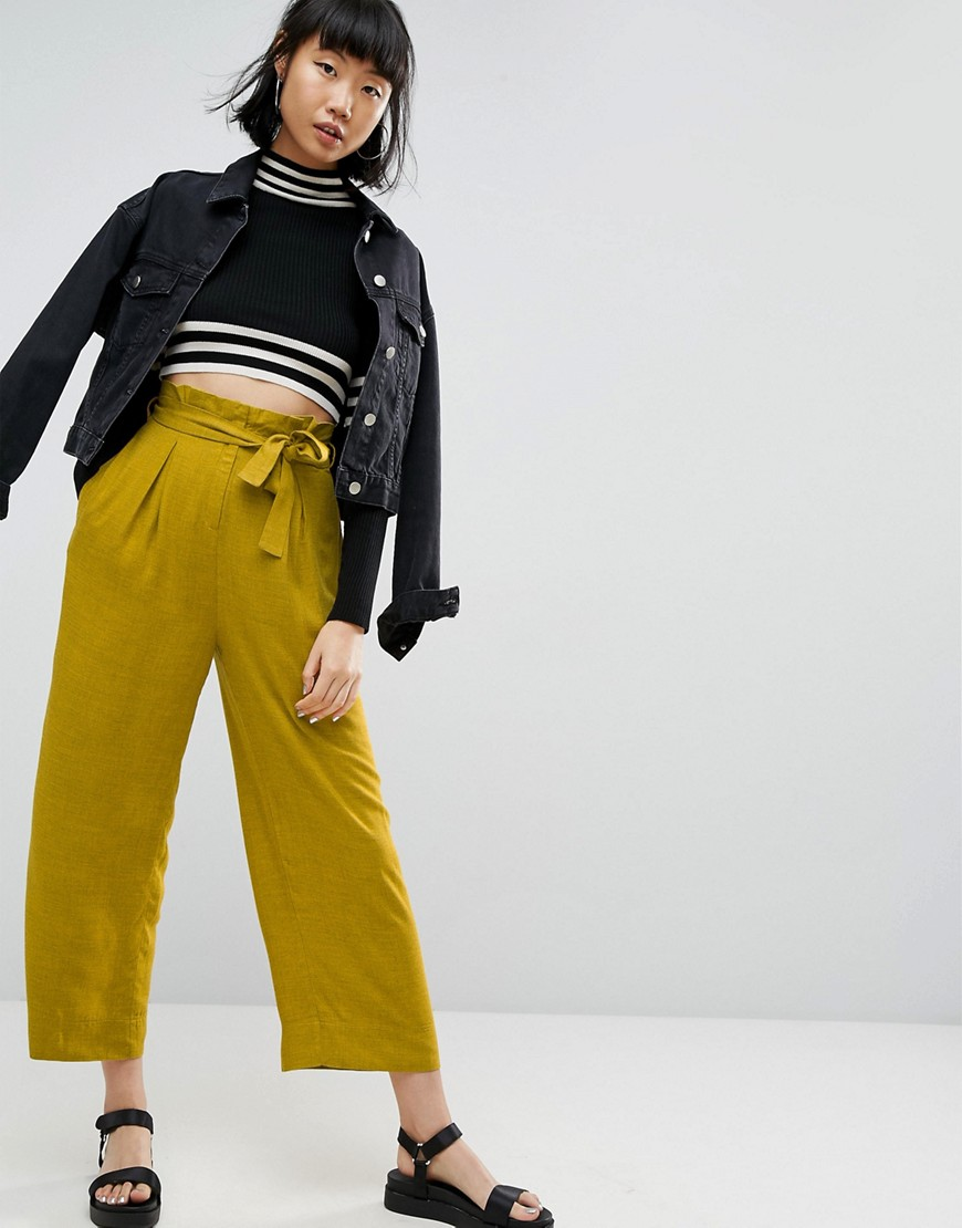 ASOS Wide Leg Trousers with Paperbag Waist - Mustard