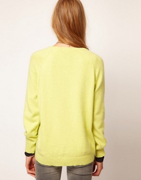 Image 2 of Selected Angora Knitted Sweater with Dipped Hem Detail
