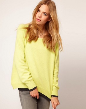 Image 1 of Selected Angora Knitted Sweater with Dipped Hem Detail