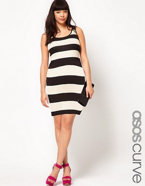 Bild 1 von ASOS CURVE  Figurbetontes Minikleid mit breiten Streifen