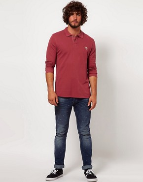 Image 4 ofPaul Smith Jeans Pique Long Sleeve Zebra Polo