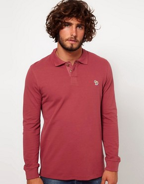 Image 1 ofPaul Smith Jeans Pique Long Sleeve Zebra Polo