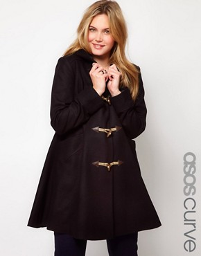 Image 1 of ASOS CURVE Exclusive Swing Duffle Coat