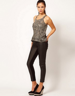 Image 1 ofRiver Island Faux Leather Trousers