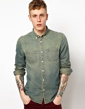 Image 1 ofASOS Denim Shirt In Stone Wash