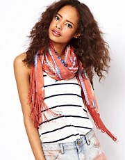 ASOS Feather Print Scarf With Fringe Detail