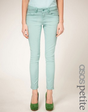 Image 1 ofASOS PETITE Exclusive Mint Green Skinny Jean #4