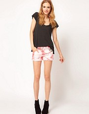 Textile by Elizabeth &amp; James High Waist Shorts in Red Tie Dye with Studding Detail
