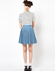 The WhitePepper Pleated Mini Skirt in Denim