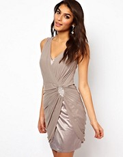 Lipsy Drape Mesh Dress with Jewel Detail