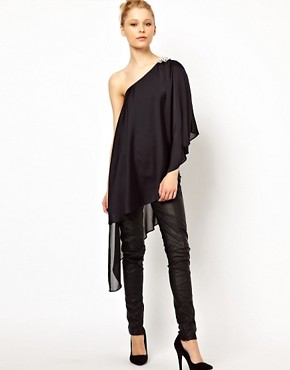 Image 1 ofRiver Island Extreme Hem Top with Shoulder Embellishment