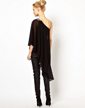 Image 2 ofRiver Island Extreme Hem Top with Shoulder Embellishment