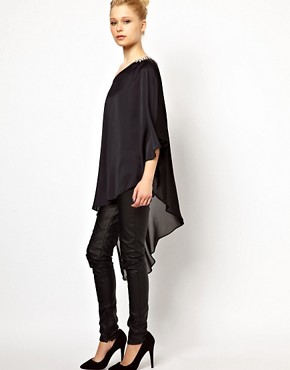 Image 4 ofRiver Island Extreme Hem Top with Shoulder Embellishment