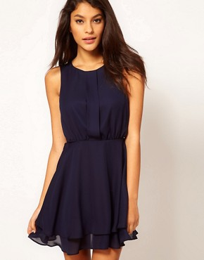 Image 1 ofASOS Sleeveless Mini Dress With Double Skirt