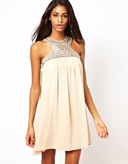 Little Mistress Embellished Bib Swing Dress