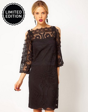 Image 1 ofASOS Shift Dress with Lace Detail