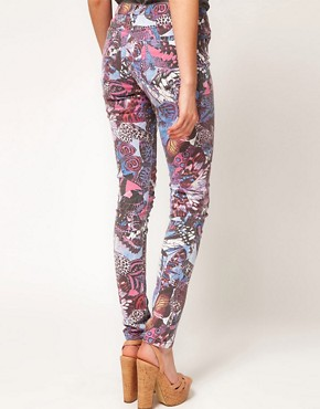 Image 2 ofASOS Skinny Jeans in Butterfly Print