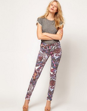 Image 4 ofASOS Skinny Jeans in Butterfly Print