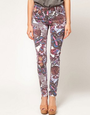 Image 1 ofASOS Skinny Jeans in Butterfly Print