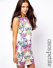 ASOS PETITE Mini Dress In Floral Print with Square Back