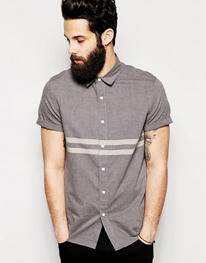 ASOS Shirt In Short Sleeve With Engineered Stripe