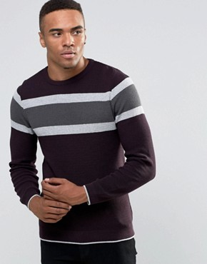River Island Jumper In Burgundy With Blocked Stripe