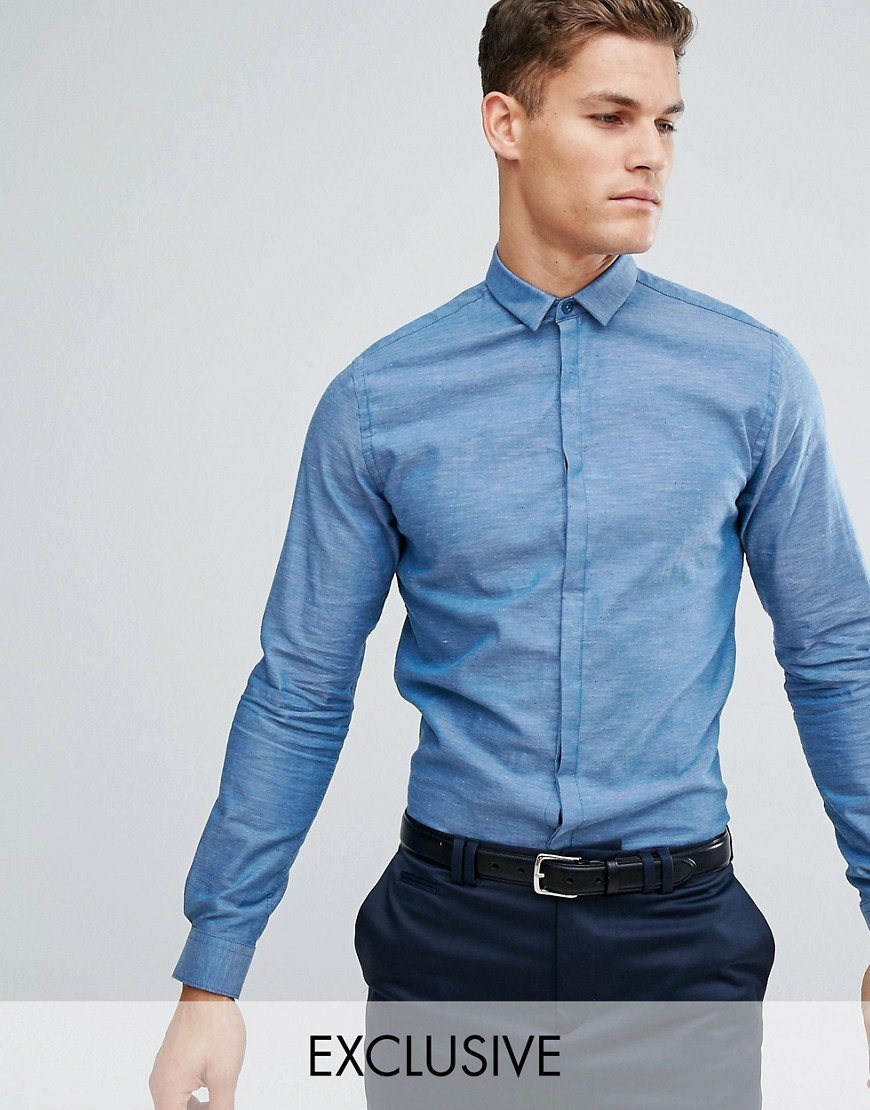 Noak Skinny Shirt In Fleck - Blue