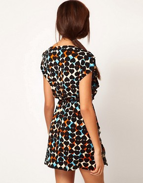 Image 2 ofRiver Island Chelsea Girl Heart Print Frill Front Dress