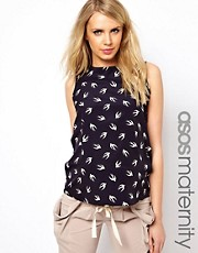 ASOS Maternity Sleeveless Blouse in Bird Print with Drape Bow Back