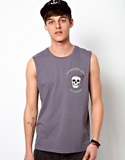 ASOS Sleeveless T-Shirt With Skull Print Pocket