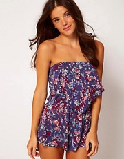 ASOS Floral Print Jersey Bandeau Beach Playsuit
