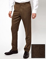 ASOS Slim Fit Smart Trousers in Brown Herringbone