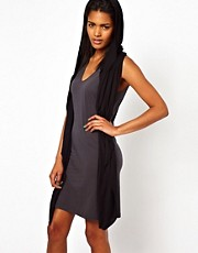 Unconditional Hooded Vest Dress with Belt