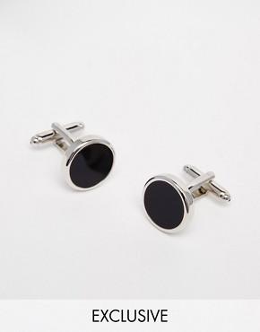 Reclaimed Vintage Cufflinks In Black/Silver