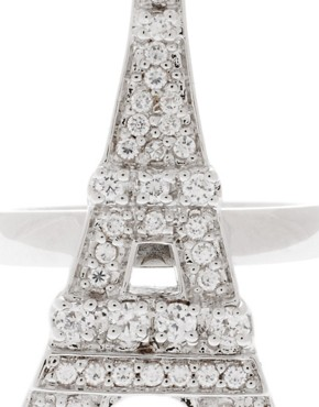 Image 2 ofBlack Rose Love Silver Plated Eiffel Tower Ring