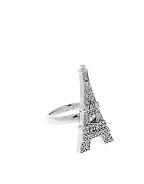 Image 1 ofBlack Rose Love Silver Plated Eiffel Tower Ring