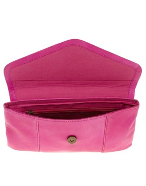 Image 2 of River Island Pink Suede And Leather Clutch