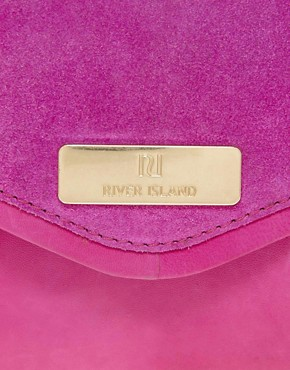 Image 4 of River Island Pink Suede And Leather Clutch