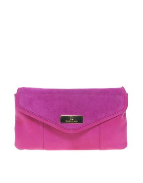 Image 1 of River Island Pink Suede And Leather Clutch