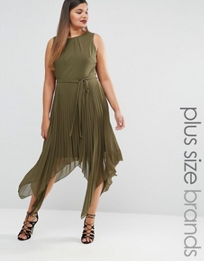 Lovedrobe Pleated Sleeveless Midi Dress With Asymetric Hem