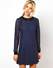 ASOS Shift Dress with Contrast Collar And Cuff