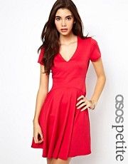 ASOS PETITE Exclusive V Neck Fluted Hem Skater Dress