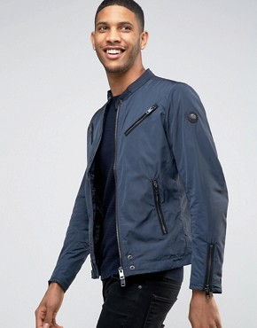 Diesel Jacket J-EDGEA Clean Lightweight Nylon Biker In Navy