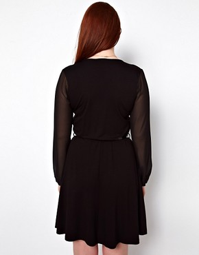 Image 2 ofASOS CURVE Wrap Dress With Chiffon Sleeves