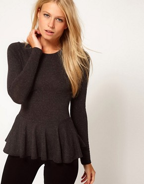 Image 1 ofASOS Peplum Top in Textured Wool