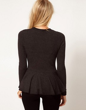 Image 2 ofASOS Peplum Top in Textured Wool