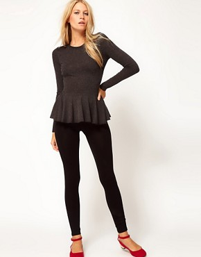 Image 4 ofASOS Peplum Top in Textured Wool