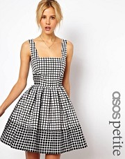 ASOS PETITE Skater Dress In Jacquard Check