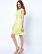 Ted Baker Belted Dress with Pleated Hem Detail